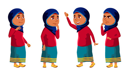Arab, Muslim Girl Kid Poses Set Vector. High School Child. Education. Young, Cute, Comic. For Card, Advertisement, Greeting Design. Isolated Cartoon Illustration  イラスト・ベクター素材