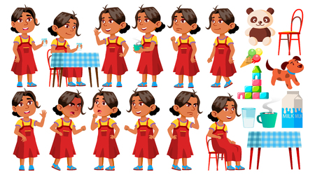 Arab, Muslim Girl Kindergarten Kid Poses Set Vector. Character Playing. Childish. Casual Clothe. For Presentation, Print, Invitation Design. Isolated Cartoon Illustration  イラスト・ベクター素材