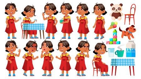Arab, Muslim Girl Kindergarten Kid Poses Set Vector. Character Playing. Childish. Casual Clothe. For Presentation, Print, Invitation Design. Isolated Cartoon Illustration Illustration
