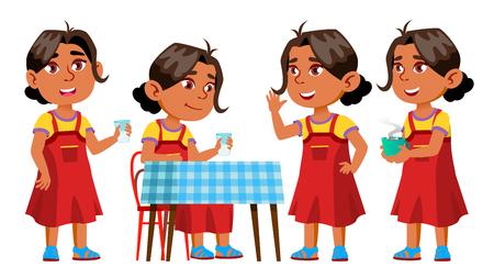 Arab, Muslim Girl Kindergarten Kid Poses Set Vector. Kiddy, Child Expression. Junior. For Postcard, Cover, Placard Design. Isolated Cartoon Illustration