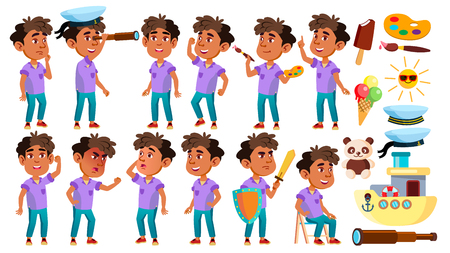 Arab, Muslim Boy Kindergarten Kid Poses Set Vector. Baby Expression. Preschooler. For Card, Advertisement, Greeting Design. Isolated Cartoon Illustration