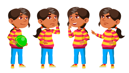 Arab, Muslim Girl Kindergarten Kid Poses Set Vector. Preschool. Young Person. Cheerful. For Web, Brochure, Poster Design. Isolated Cartoon Illustration Иллюстрация