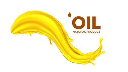 Oil Splash Vector. Extract Or Essential. Gasoline Banner. Advertisement. Clear Stream. 3D Realistic Isolated Illustration Çizim