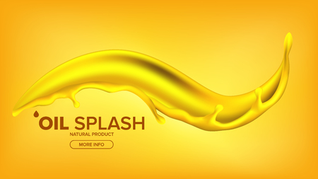 Oil Splash Vector. Liquid Drop. Gold Droplet. Olive, Flow. Fuel Wave. Gas, Collagen 3D Realistic Isolated Illustration