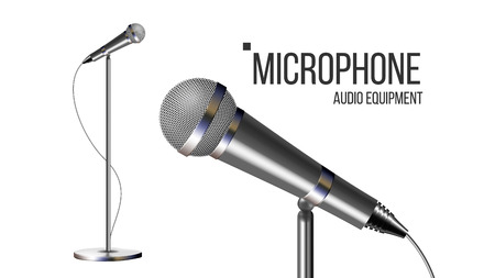 Modern Microphone With Stand Vector. Performance Object. Mic Isolated. Record Stage. Live Concert. Illustration