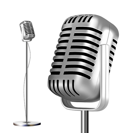 Retro Chrome Microphone With Stand Vector. Musical Symbol. Performance Object. Mic Isolated. Illustration