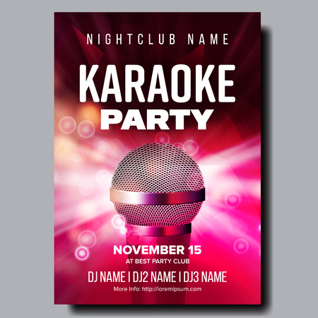 Karaoke Poster Vector. Retro Concert. Karaoke Club Background. Mic Design. Creative Layout. Audio Element. Speaker Label. Entertainment Competition. Media Announcement. Luxury. Realistic Illustration