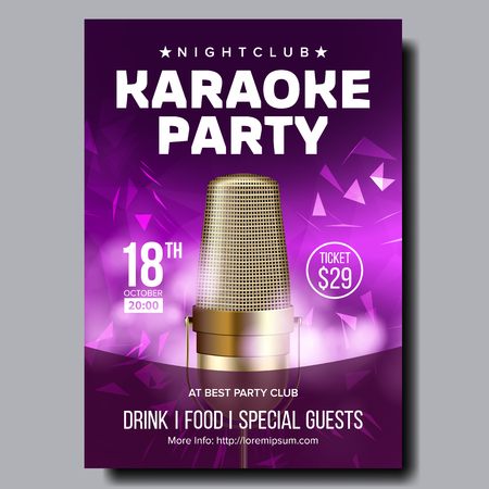 Karaoke Poster Vector. Colorful Instrument. Technology Symbol. Karaoke Party Flyer. Music Night. Radio Microphone. Retro Concert. Competition. Media Announcement. Luxury. Realistic Illustration