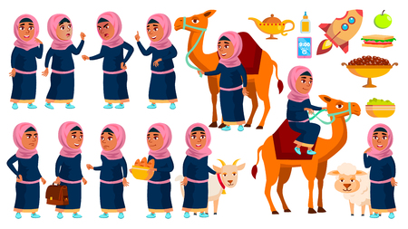 Arab, Muslim Girl School, Girl Kid Poses Set Vector. Primary School Child. Study. Knowledge, Learn, Lesson. Camel, Sheep, Goat. For Traditional Clothes. Isolated Cartoon Illustration