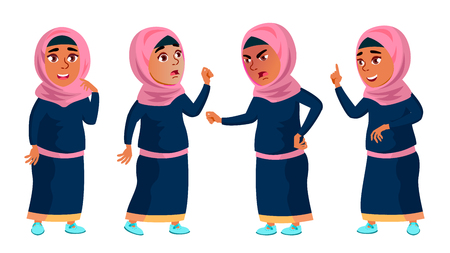 Arab, Muslim Girl School, Girl Kid Poses Set Vector. Child. Teenage. Traditional Clothes. For Web, Brochure, Poster Design. Isolated Cartoon Illustration