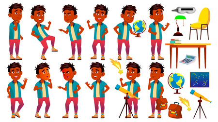 Indian Boy Schoolboy Kid Poses Set Vector. Primary School Child. Young People. Astronomy. Discover Planet. University, Graduate. For Advertising, Placard, Print Design. Cartoon Illustration