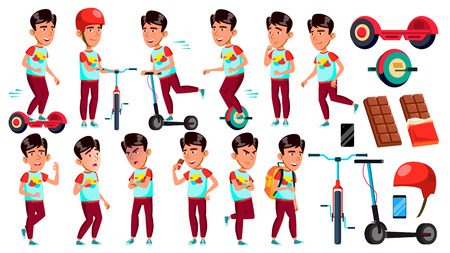 Asian Boy Schoolboy Set Vector. Primary School Child. Cheerful Pupil. Friends. Fun, Activity. Lifestyle Summer. Life, Emotional. For Banner, Flyer, Web Design. Isolated Cartoon Illustration Иллюстрация