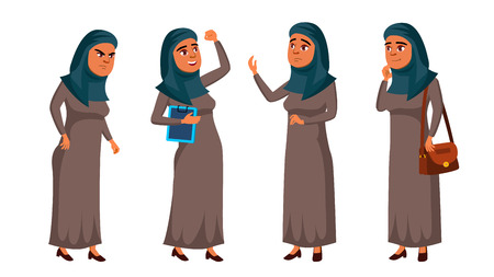 Arab, Muslim Teen Girl Poses Set Vector. Positive Office Manager Person. For Postcard, Cover, Placard Design. Isolated Cartoon Illustration Standard-Bild - 118803393