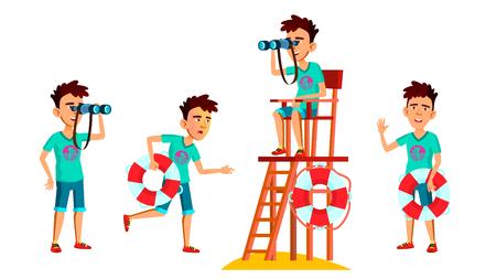 Muchacho adolescente asiático plantea establecer Vector. Rostro. Salvavidas en la playa. Mar, Vacaciones. Para web, folletos, diseño de carteles. Ilustración de dibujos animados Ilustración de vector