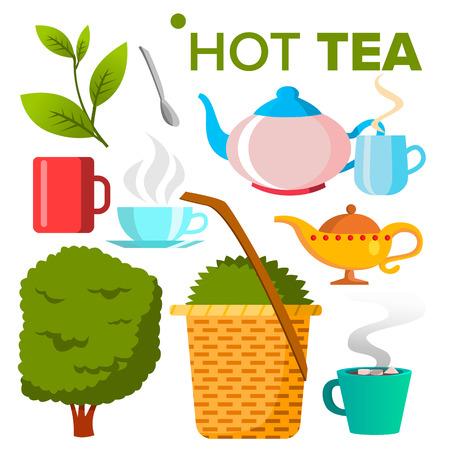 Heißer Tee-Symbol Vektor. Essen trinken. Öko-Naturprodukt. Isolierte Cartoon-Illustration
