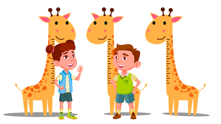 Ruler Baby Height Giraffe Vector. Boy, Girl. Isolated Cartoon Illustration Ilustração