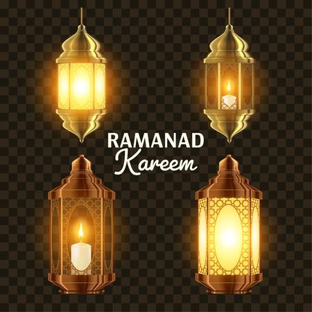 Ramadan Lamp Set Vector. Islam. Kareem Lamp. Lantern Design. Mubarak Night. Ramazan Greeting Design. Muslim Fanous, Fanoos. Islamic Season Invitation Banner Design Element. 3D Realistic Illustration Ilustración de vector
