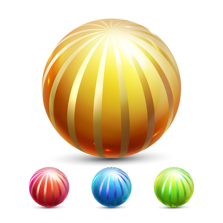 Sphere Ball Vector. Orb Shining. Round Button. Glossy Element. Cirlce Object. Gold, Stone Clear Bubble. Crystal Magic Symbol. Holographic, Gradient. 3D Realistic Illustration Illustration
