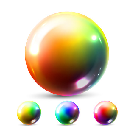 Sphere Ball Vector. Orb Shining. Glow Crystal. Smooth Blank. Web Icon. Glossy Shine Icon. Holographic, Gradient. 3D Realistic Illustration  イラスト・ベクター素材