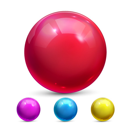 Sphere Ball Vector. Orb Shining. Glow Crystal. Smooth Blank. Web Icon. 3D Realistic Illustration