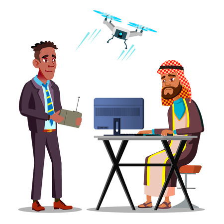 International Espionage. African American Businessman Launches A Flying Drone Over Arab Businessman Sitting At Desk With Laptop Vector Flat Illustration Ilustração
