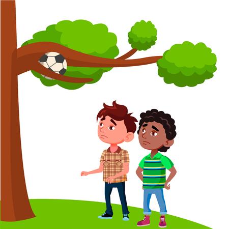 Les enfants frustrés regardent la balle coincée dans les branches de l'arbre Vector Illustration plate