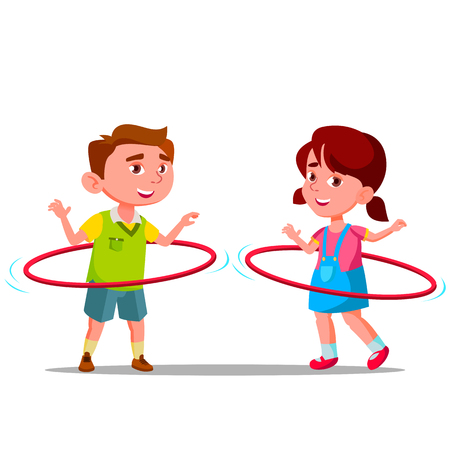 Little Boy And Girl Twirling Colored Huha Hoops Vector Flat Illustration