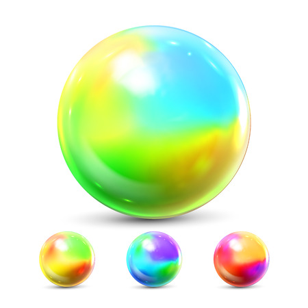 Sphere Ball Vector. Orb Shining. Magic Globe. Fluid Element. Jeweler Perl. Shine Glowing Metal Or Plastic Abstract Circle. Holographic, Gradient. 3D Realistic Illustration Illustration