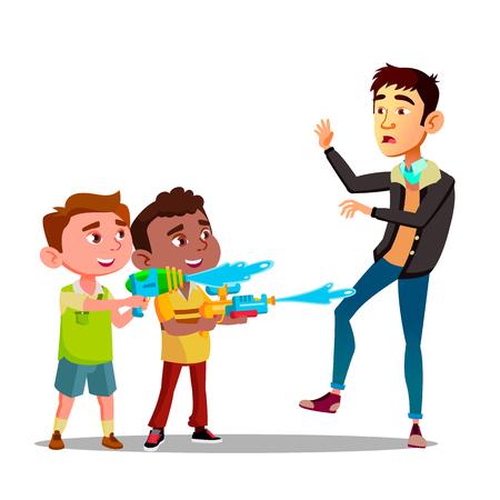 Two Bully Kids Splashing Into Man From Water Pistols Vector Flat Illustration