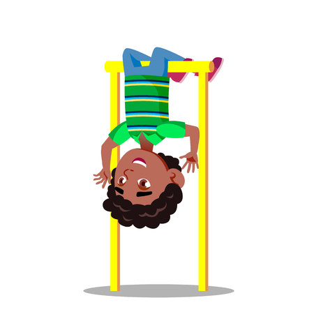 Sporty Little Boy Hanging On Horizontal Bar Upside Down Vector Flat Illustration
