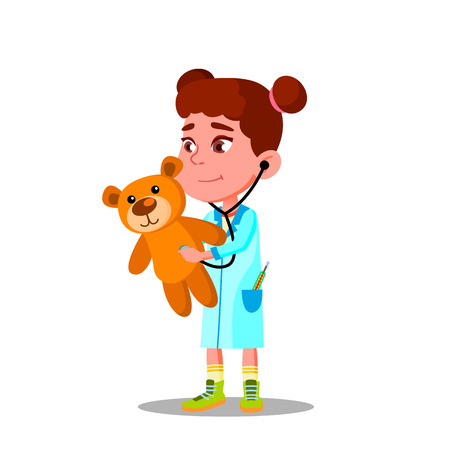 Little Girl In White Coat And Stethoscope Plays Doctor And Treats Her Toy Vector Flat Illustration