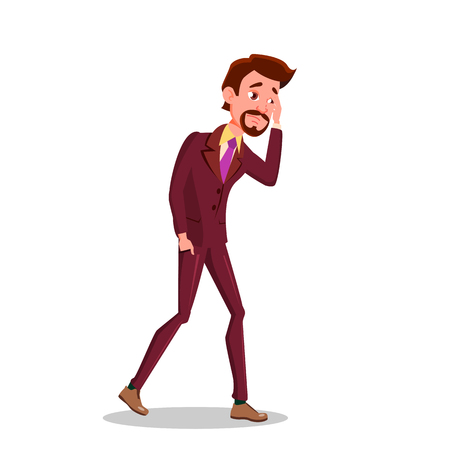Sad Businessman Went Broke. Man Wearing Inpants And A Jacket With A Tie Vector Flat Illustration Illustration
