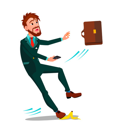Man In Business Suit With A Briefcase And A Smartphone Slipped On A Banana Peel Vector Flat Illustration Ilustração