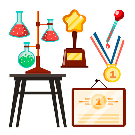 Icons Scientists Discovery Study Vector. Isolated Flat Illustration Illustration