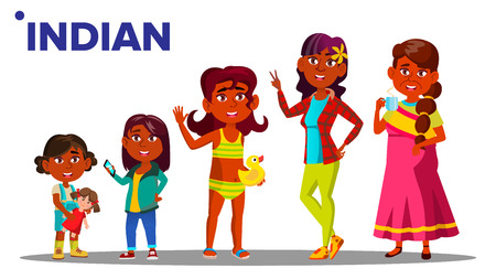 Indian Generation Female People Person Vector. Indian Mother, Daughter, Granddaughter, Baby, Teen. Vector. Isolated Illustration