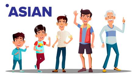 Generazione asiatica persone di sesso maschile persona vettore. Nonno asiatico, padre, figlio, nipote, bambino vettore. Illustrazione isolata Vettoriali