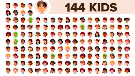 Kids Avatar Set Vector. Girl, Guy. Multi Racial. Face Emotions. Multinational User People Portrait. Male, Female. Ethnic. Icon Asian African European Arab Flat Illustration
