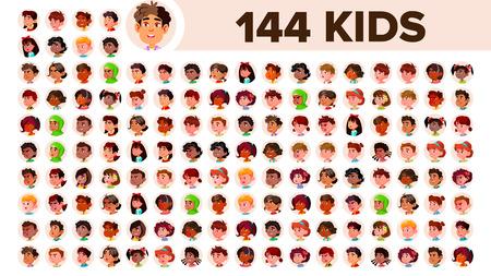 Kids Avatar Set Vector. Girl, Guy. Multi Racial. Face Emotions. Multinational User People Portrait. Male, Female. Ethnic. Icon Asian African European Arab Flat Illustration