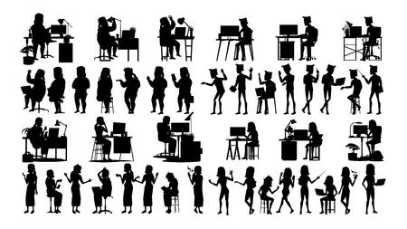 Les gens d'affaires Silhouette Set Vector. Homme Femme. Pose de l'icône. Conférence sociale. Femmes d'affaires dirigeantes. Gestionnaire de femme d'affaires. Image de direction. Noir isolé sur blanc Illustration
