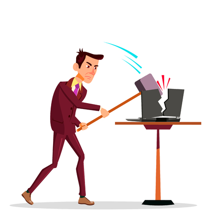 Stressful Businessman Breaking His Laptop With Big Hammer Vector Flat Cartoon Illustration
