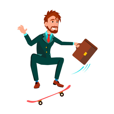Businessman With Briefcase Rushes Standing On Skateboard Vector Flat Cartoon Illustration