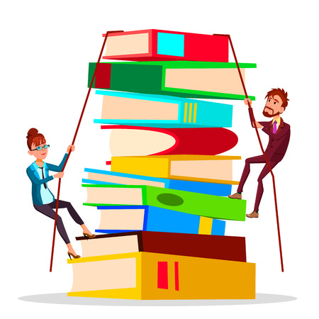 Business Training. Female And Male Business People Climbing Onto Large Stack Of Books Vector Flat Cartoon Illustration