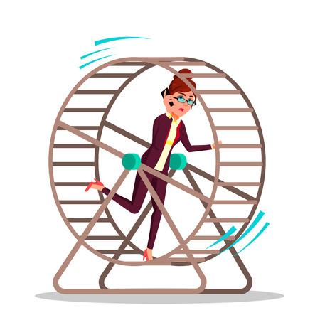 Geschäftsfrau, die in einem Rattenrad-Vektor-flache Karikatur-Illustration läuft