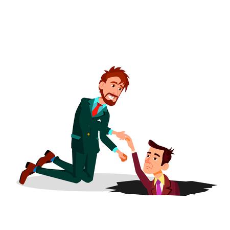 Helfen Sie einem Kollegen. Ein Geschäftsmann zieht Kollegen aus der Grube Vektor-flache Cartoon-Illustration