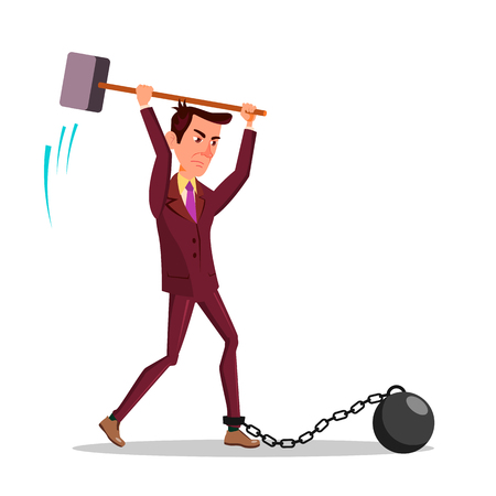 Angry Businessman Cutting Iron Chain With Big Hammer Vector Flat Cartoon Illustration