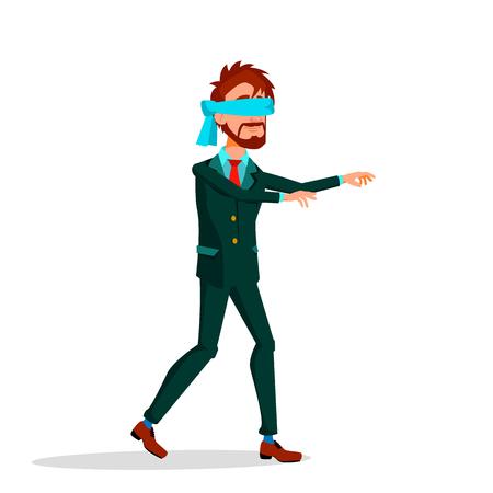 Geblinddoekte Manager loopt vooruit met uitgestrekte armen Vector platte Cartoon afbeelding Vector Illustratie