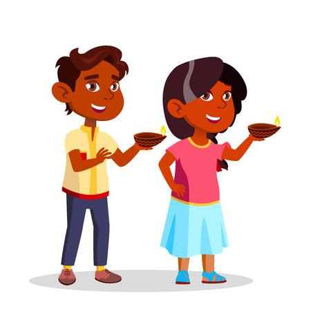 Indian Children In Diwali Festival Lighting Candles Vector Flat Illustration Illustration