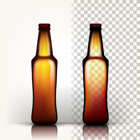 Beer Bottle Vector. Oktoberfest Brew. Alcoholic Sign. 3D Transparent Isolated Realistic Illustration