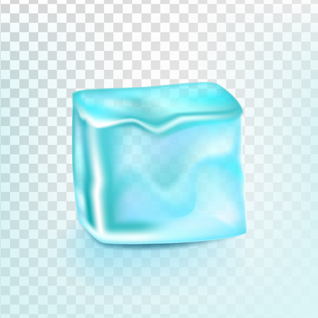 Ice Cube Isolated Transpatrent Vector. Cool Glass Drink. Iced Liquid. Realistic Illustration