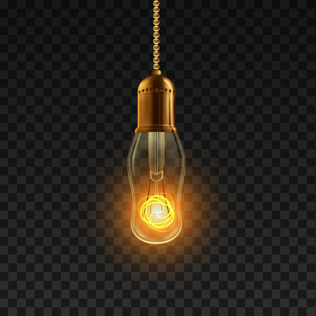 Light Bulb Vector. Power Object Light Bulb. Antique Cable. 3D Realistic Transparent Illustration 向量圖像